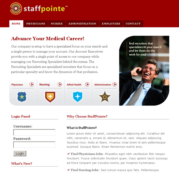 Projects: StaffPointe, LLC Website Mockup